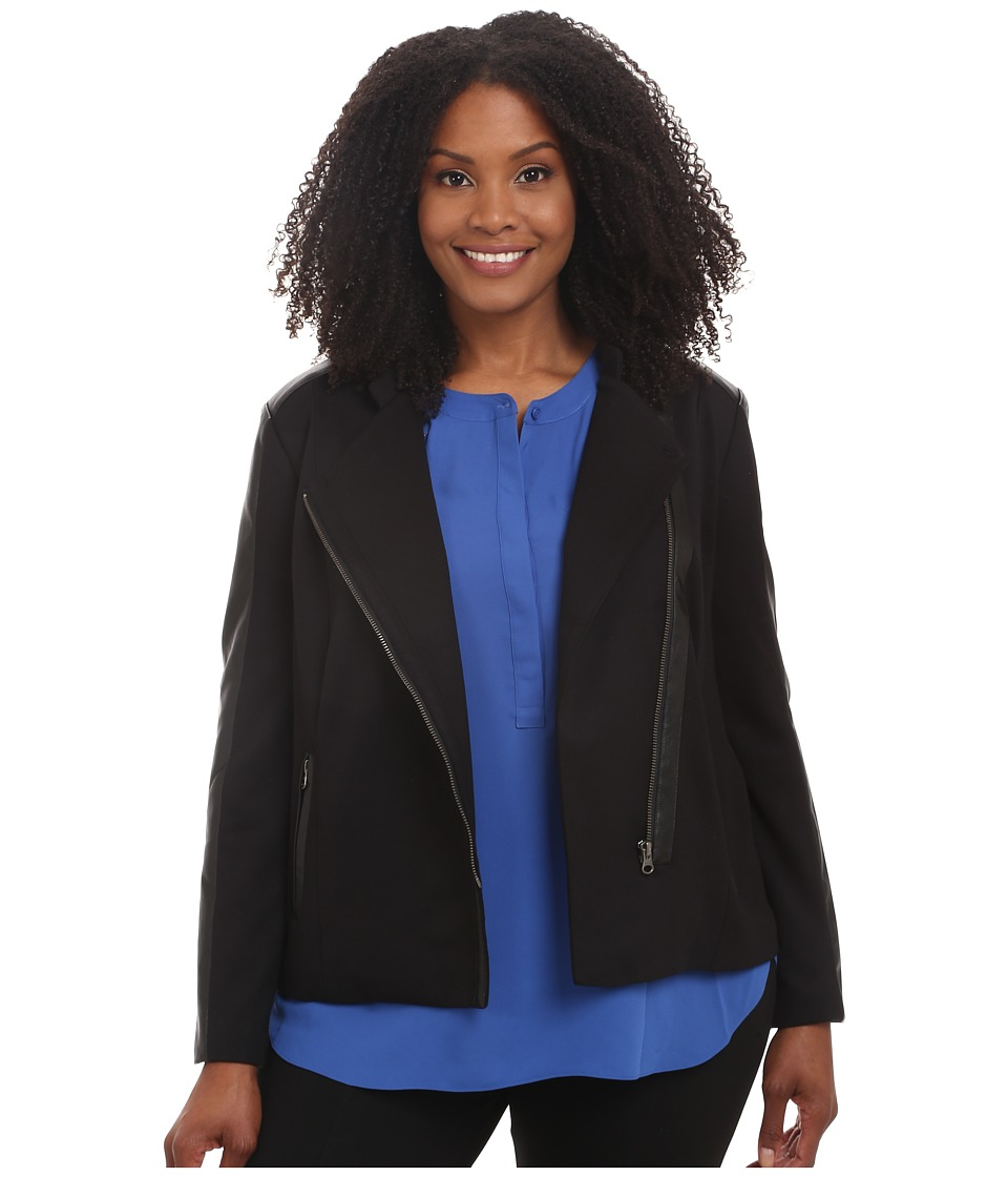 NYDJ Plus Size - Plus Size Ponte Moto Jacket (Black) Women's Coat