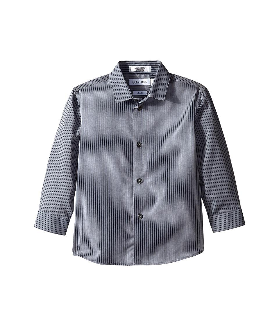 Calvin Klein Kids - Long Sleeve Tonality Stripe Shirt (Little Kids) (Medium Grey) Boy's Clothing