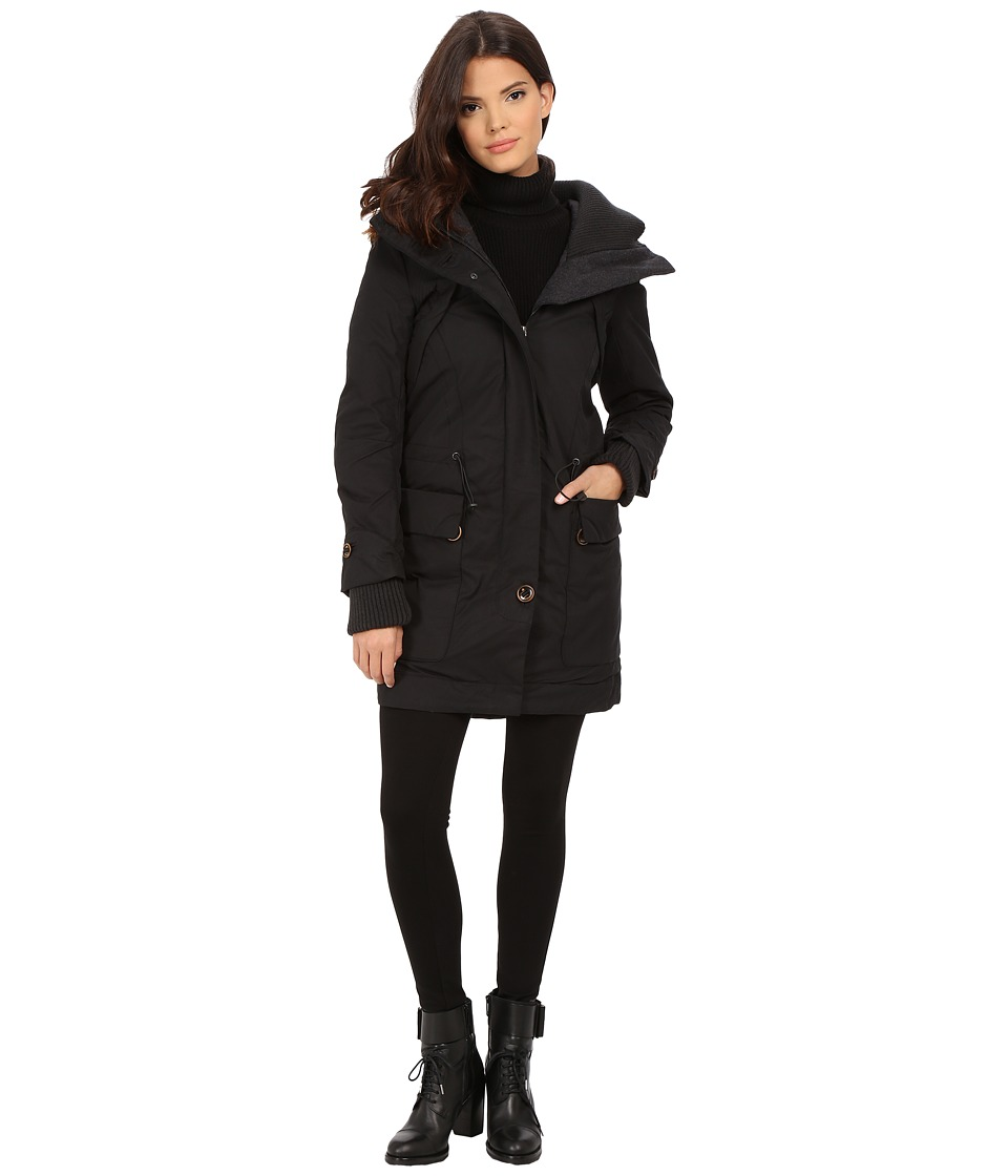 Rainforest - Trench with Knit Detailing (Black) Women's Coat