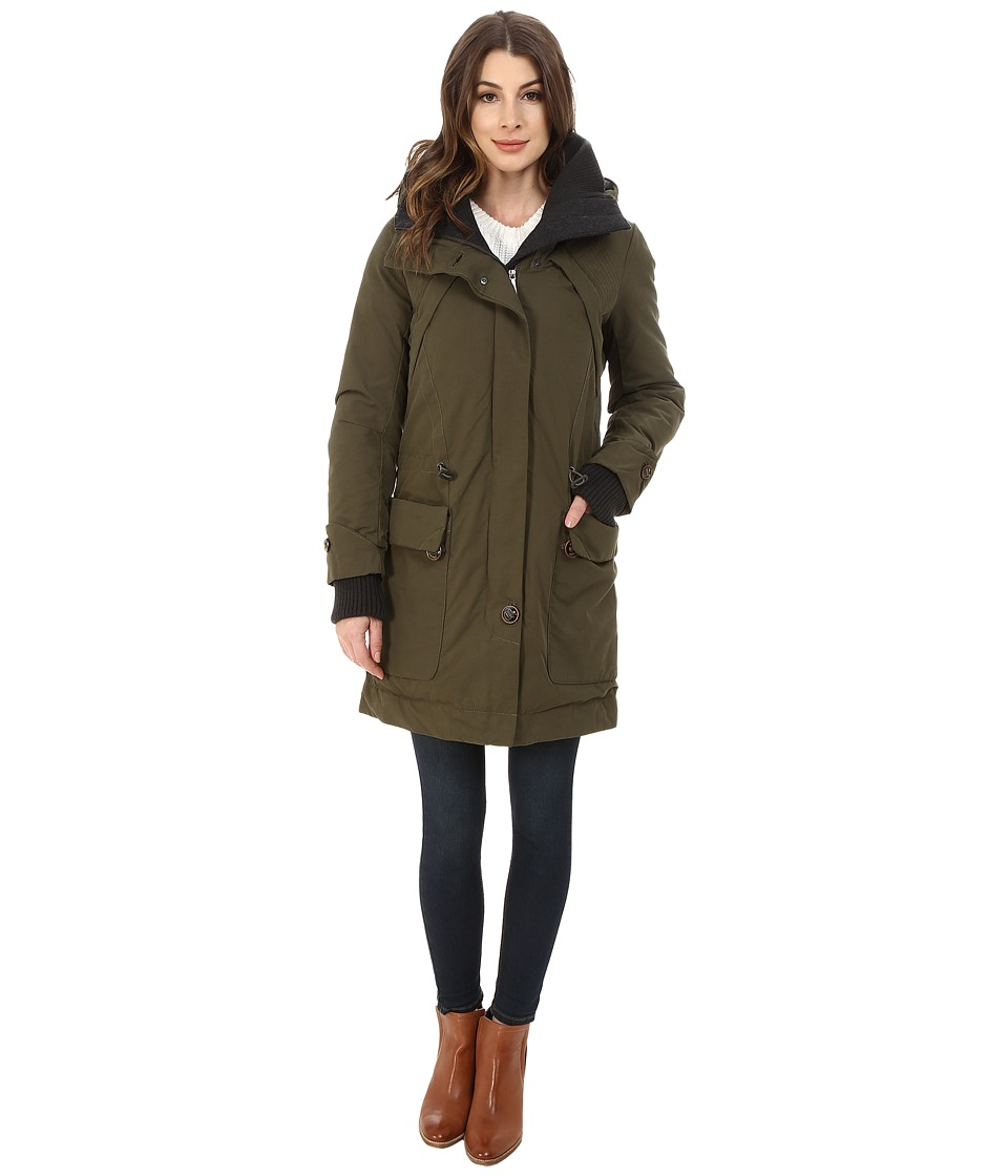 Rainforest Trench with Knit Detailing (Olive) Women's Coat