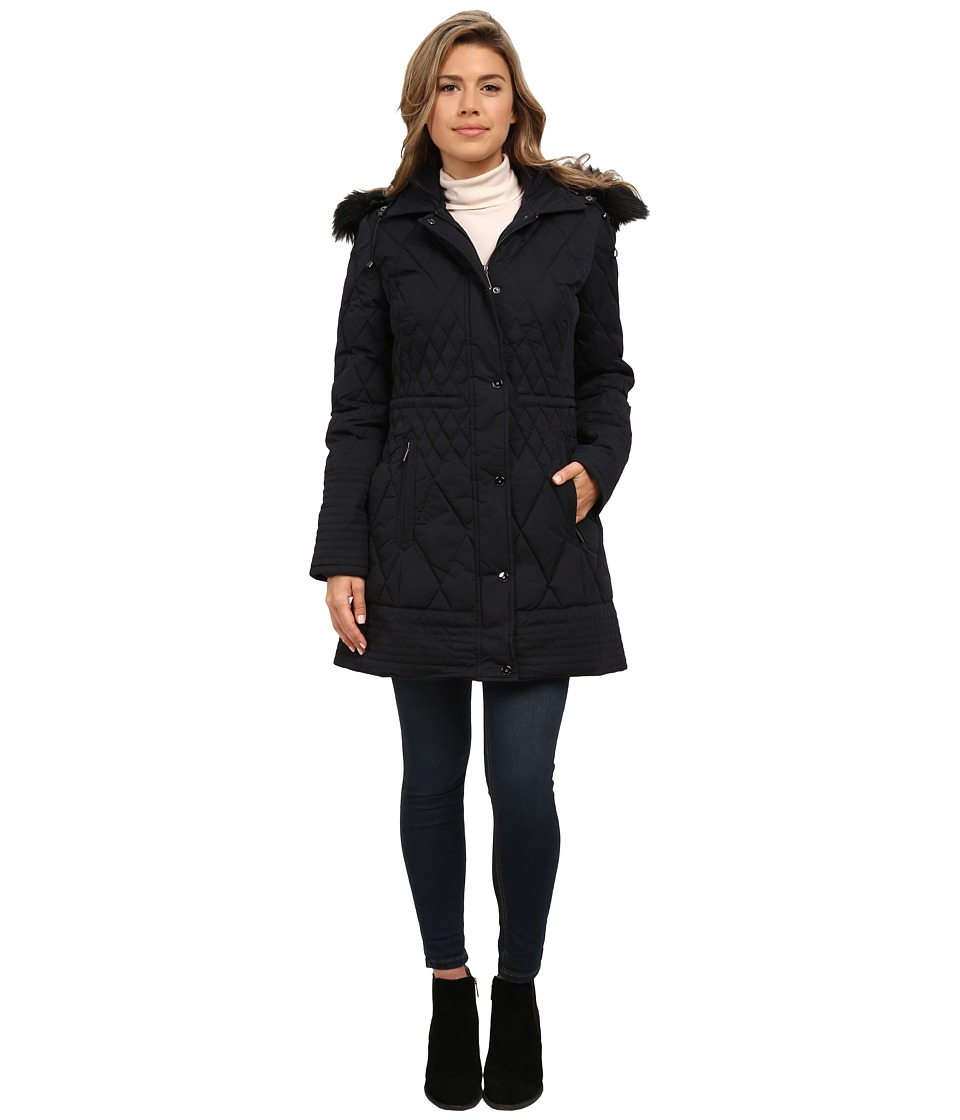 Rainforest - Diamond Quilted Puffer with Fur Hood (Black) Women
