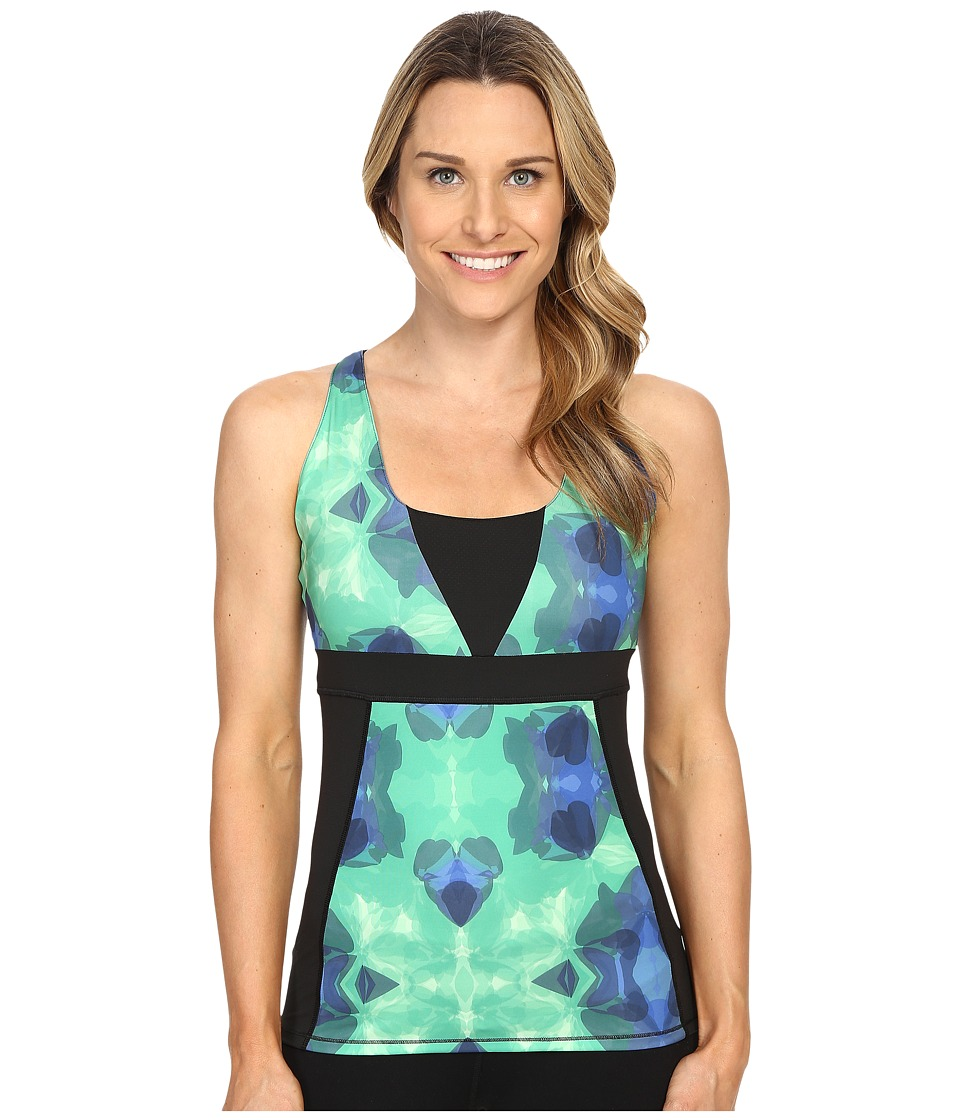 Skirt Sports - Electric Tank (Emerald City Print/Black) Women's Sleeveless