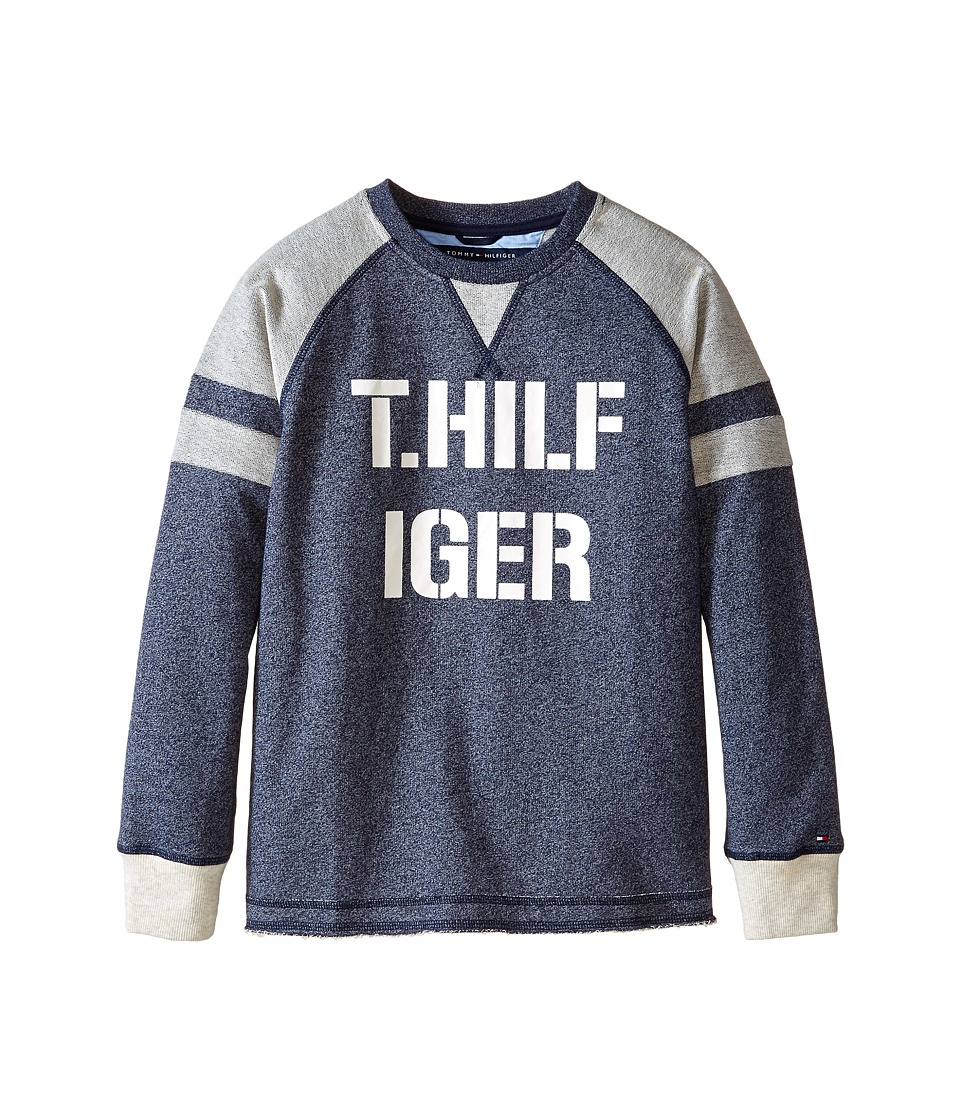 Tommy Hilfiger Kids - Long Sleeve Pieced Raglan Crew Top (Big Kids) (Swim Navy) Boy