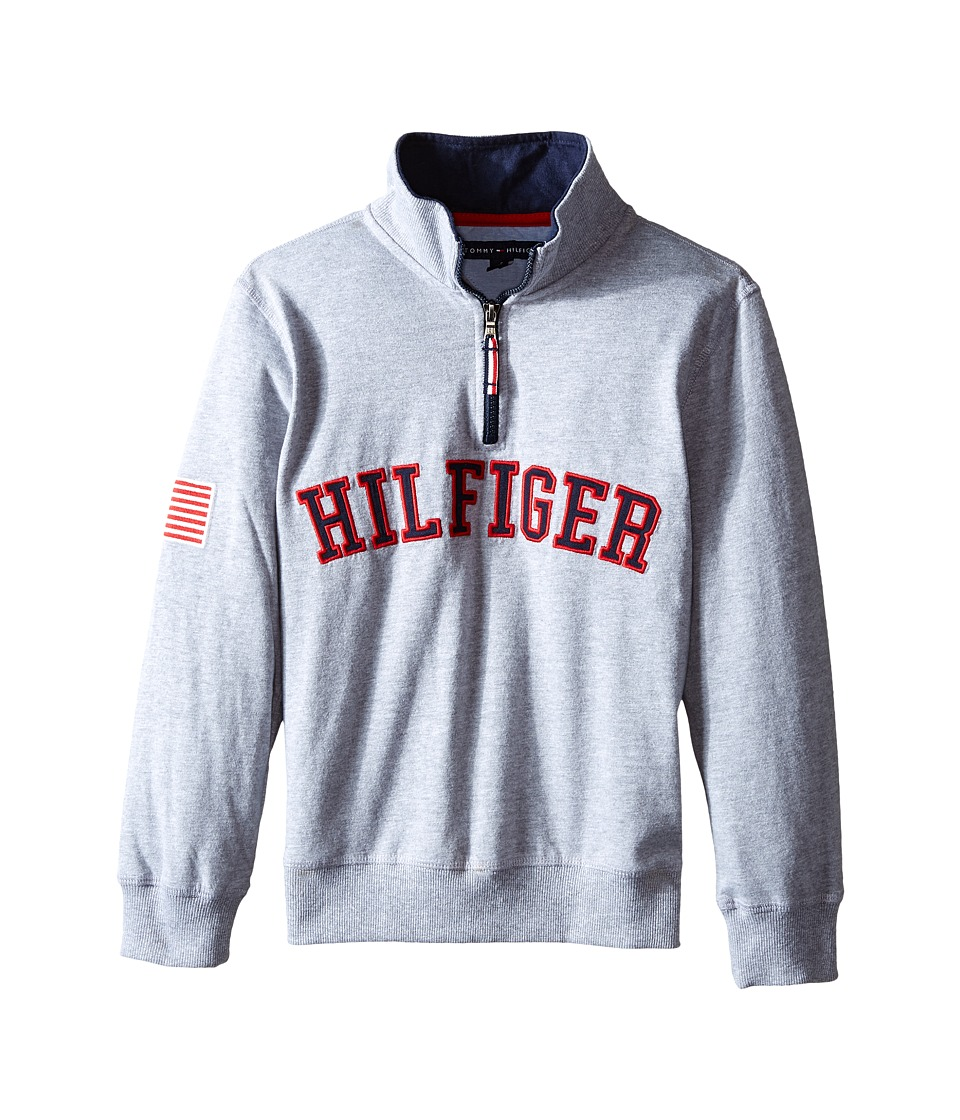 Tommy Hilfiger Kids - Half Zip Pullover Sweater (Big Kids) (Heather Grey) Boy's Sweater