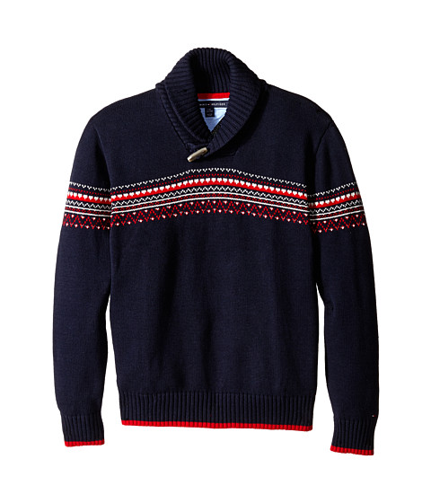 Tommy Hilfiger Kids - Long Sleeve Fair Isle Sweater (Big Kids) (Swim Navy) Boy's Sweater