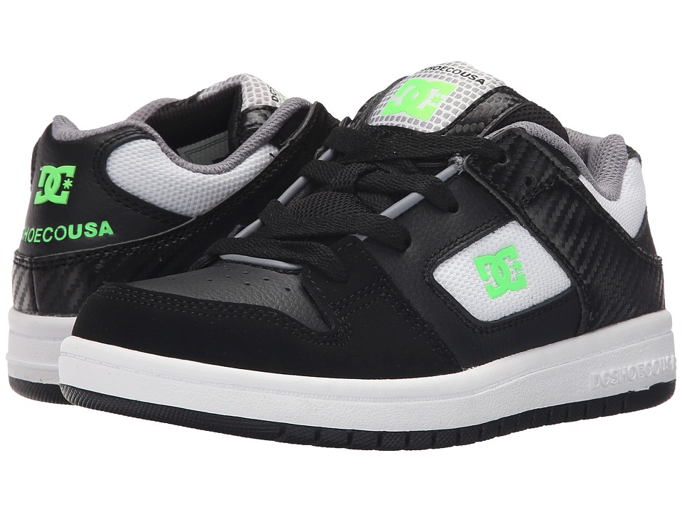 DC Kids - Manteca (Big Kid) (Black/White/Green) Boys Shoes