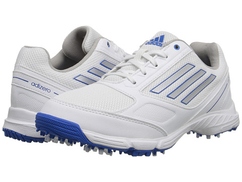 adidas Golf - jr adizero sport (Little Kid/Big Kid) (Running White/Silver Metallic/Bahia Blue) Golf Shoes