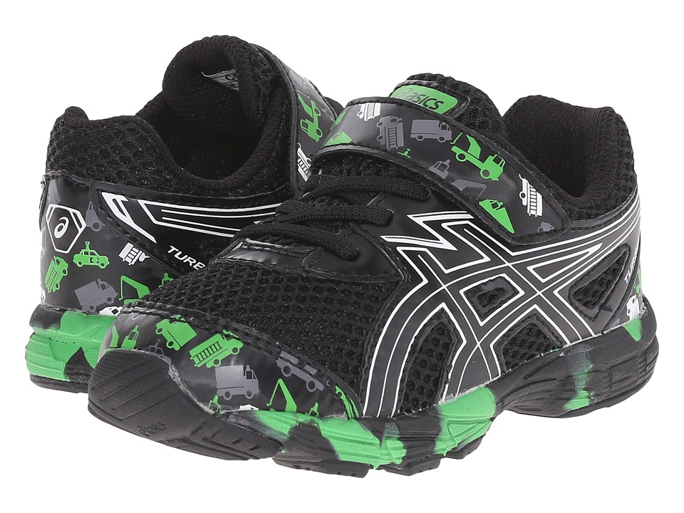 ASICS Kids - Turbo TS (Toddler) (Black/White/Green) Boys Shoes
