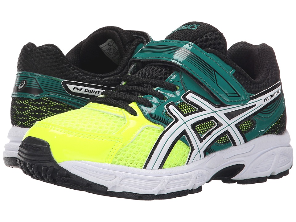 ASICS Kids - Pre-Contend 3 PS (Toddler/Little Kid) (Flash Yellow/White/Green) Boys Shoes