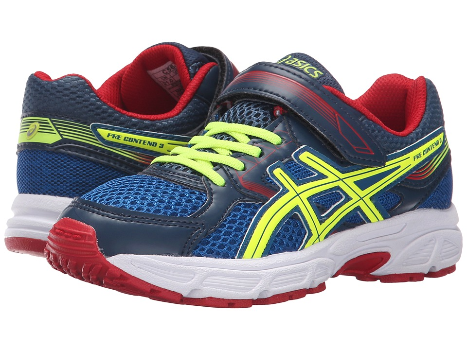 ASICS Kids - Pre-Contend 3 PS (Toddler/Little Kid) (Royal/Flash Yellow/Red) Boys Shoes