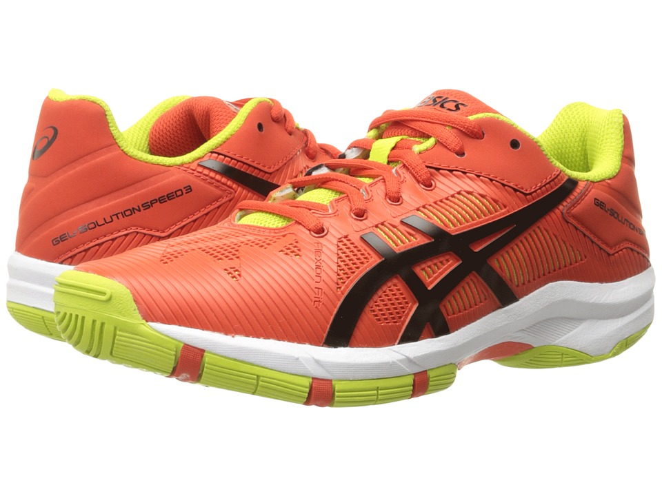 ASICS Kids - Gel-Solution Speed 3 GS (Little Kid/Big Kid) (Orange/Black/Lime) Boys Shoes