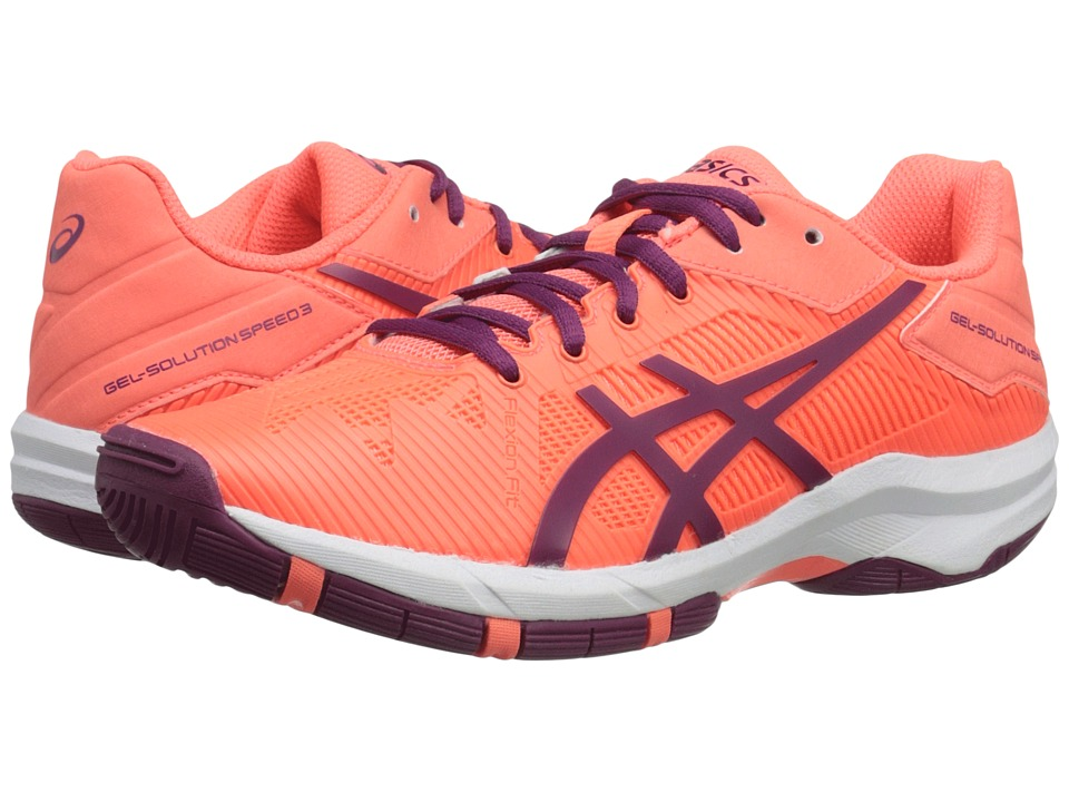 ASICS Kids - Gel-Solution Speed 3 GS (Little Kid/Big Kid) (Flash Coral/Plum/Flash Coral) Girls Shoes