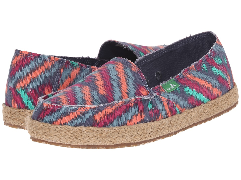 Sanuk - Funky Fiona (Slate Blue Zig Zag) Women's Slip on Shoes