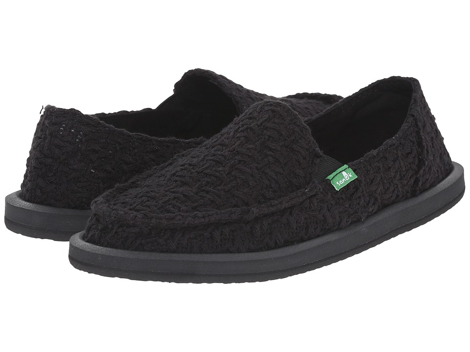 Sanuk - Donna Knit Stitch (Black) Women's Slip on Shoes