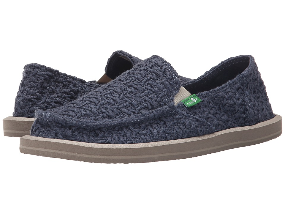 Sanuk - Donna Knit Stitch (Slate Blue) Women's Slip on Shoes