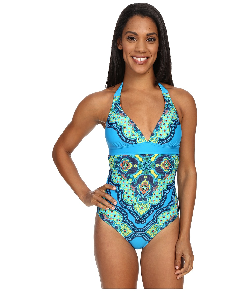 Prana - Lahari One Piece (Vivid Blue Jasmine) Women's Swimsuits One Piece