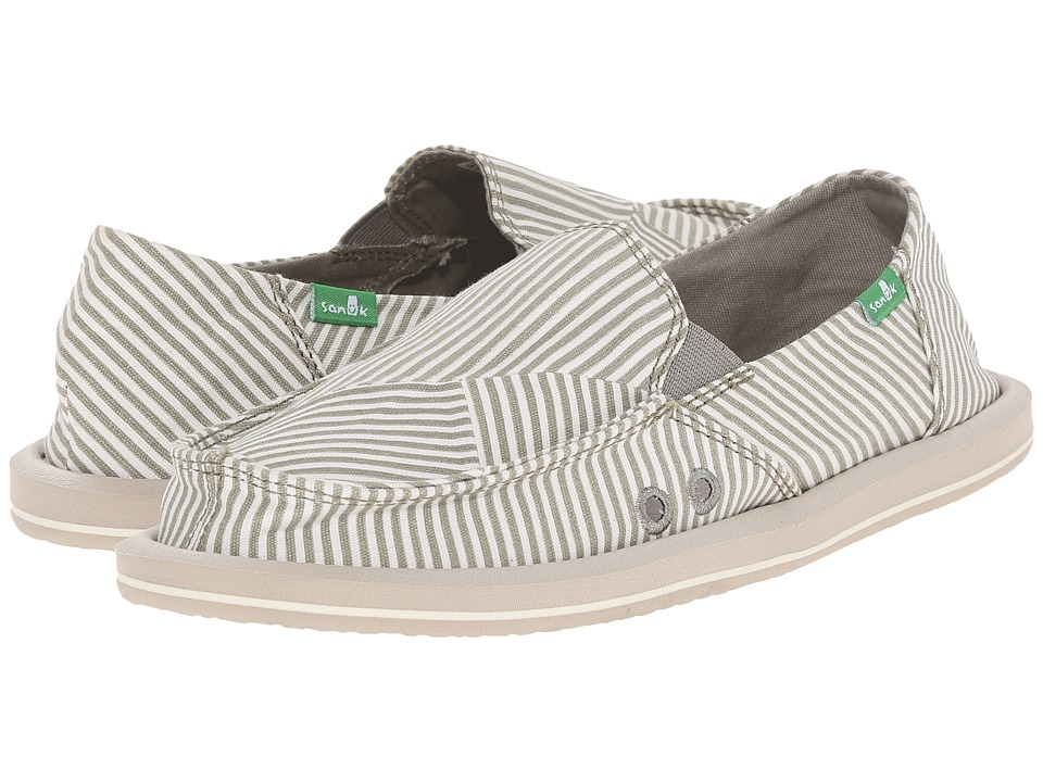 Sanuk - Donna Polo (Olive Grey/White) Women's Slip on Shoes