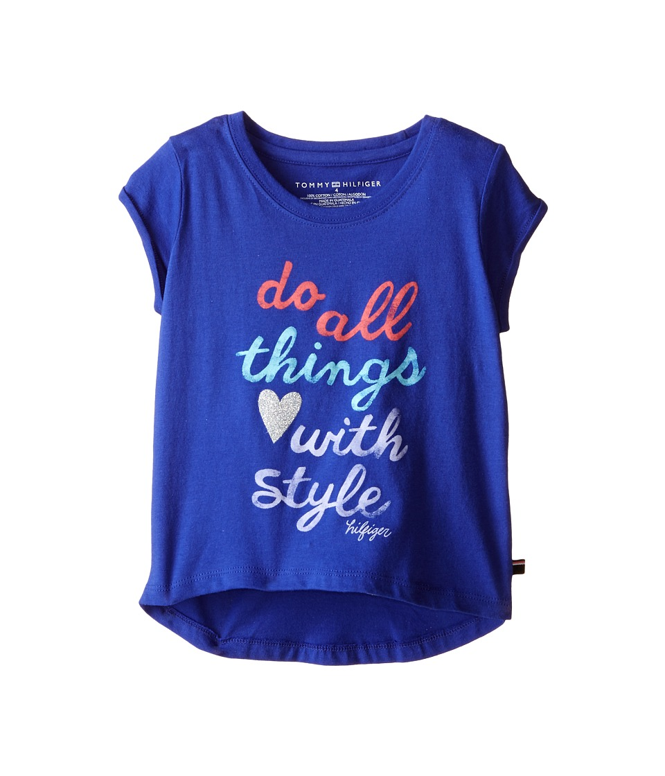 Tommy Hilfiger Kids - Do All Things with Style Tee (Little Kids) (Lazul Blue) Girl's T Shirt
