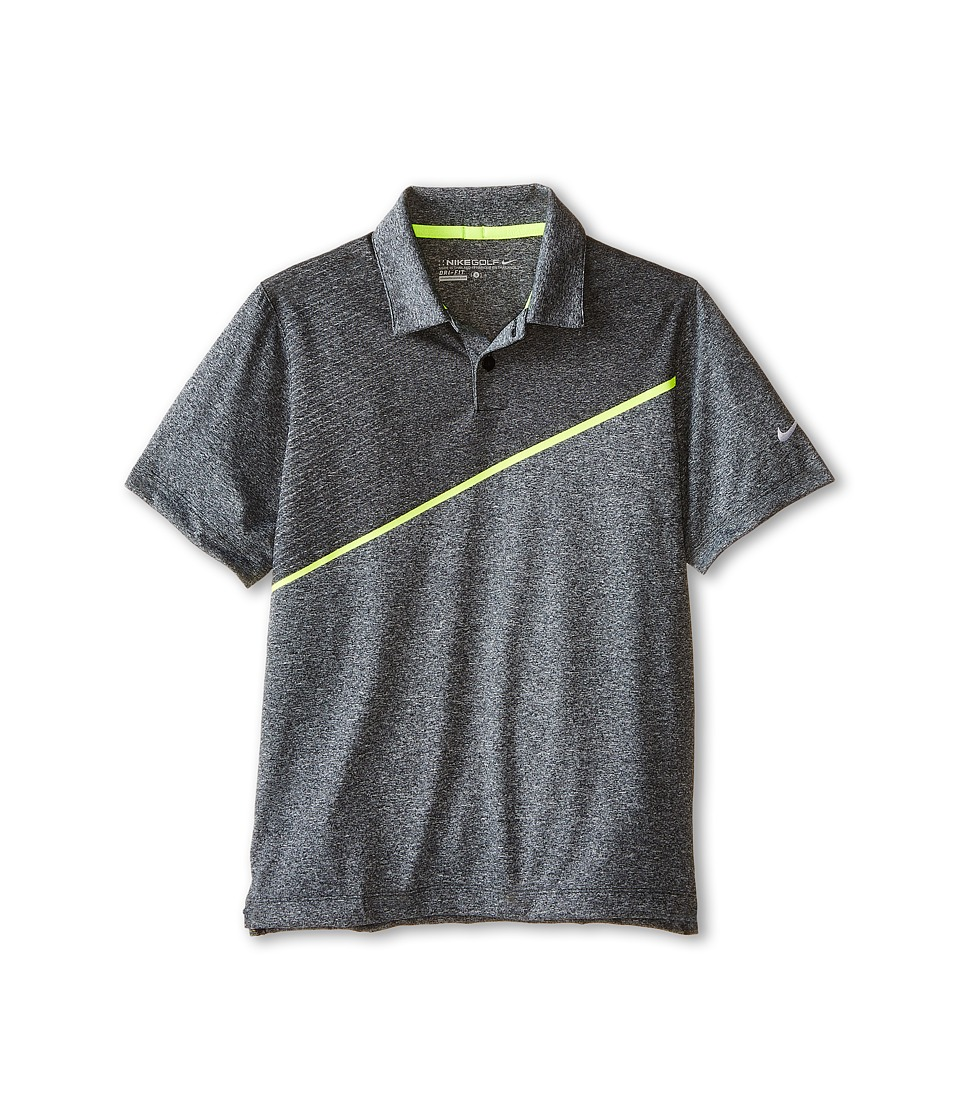 Nike Kids - Momentum 26 Polo (Little Kids/Big Kids) (Black/Heather/Volt/Wolf Grey) Boy's Short Sleeve Knit