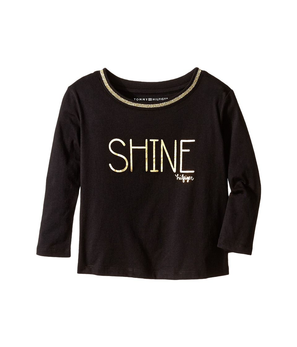 Tommy Hilfiger Kids - Long Sleeve Dollman Rib Neck Shine Tee (Little Kids) (Black) Girl