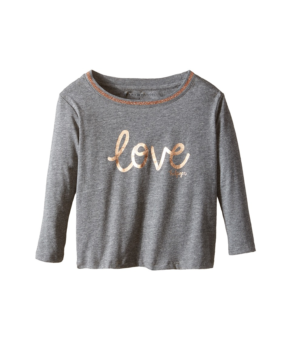Tommy Hilfiger Kids - Long Sleeve Dollman Rib Neck Shine Tee (Little Kids) (Storm Heather) Girl