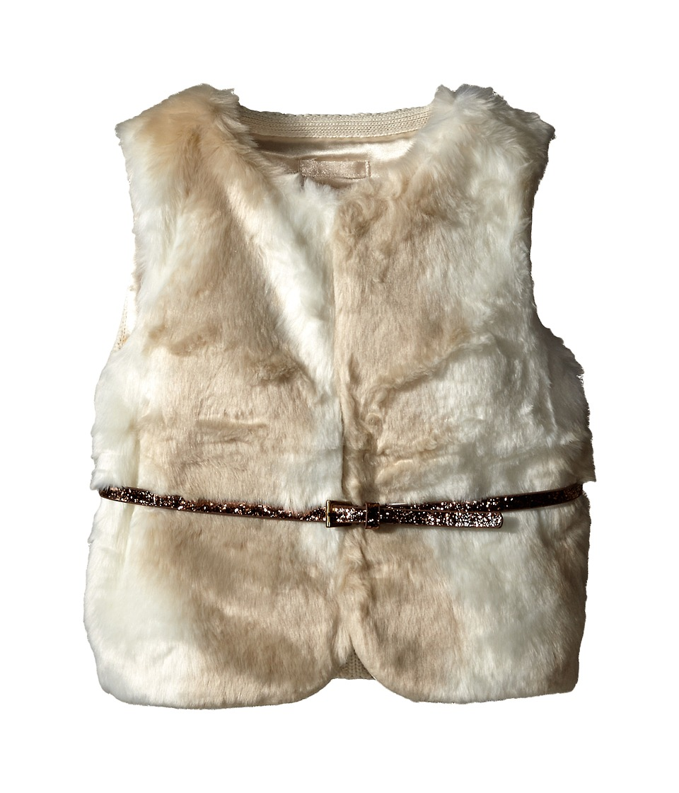 Tommy Hilfiger Kids - Fur Vest with Intarsia Sweater Back (Little Kids) (Frosty Cream) Girl