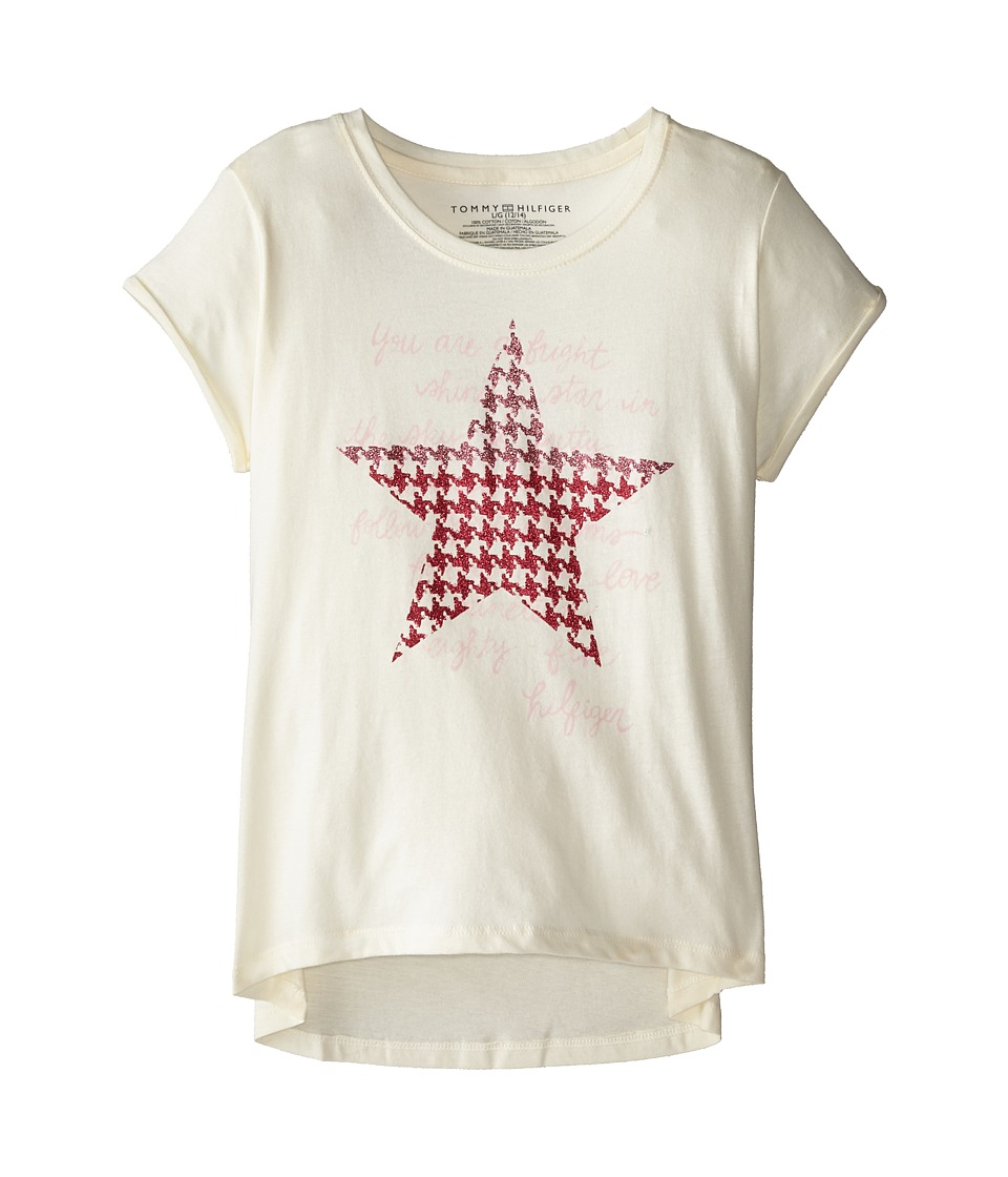 Tommy Hilfiger Kids - Houndstooth Star Tee (Big Kids) (Frosty Cream) Girl