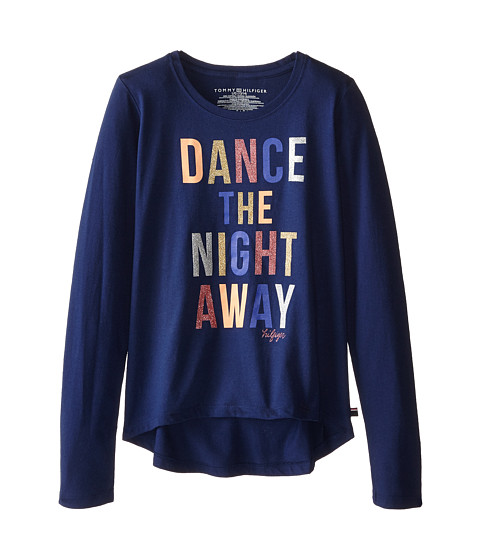 Tommy Hilfiger Kids - Dance The Night Away Long Sleeve Tee (Big Kids) (Flag Blue) Girl's T Shirt