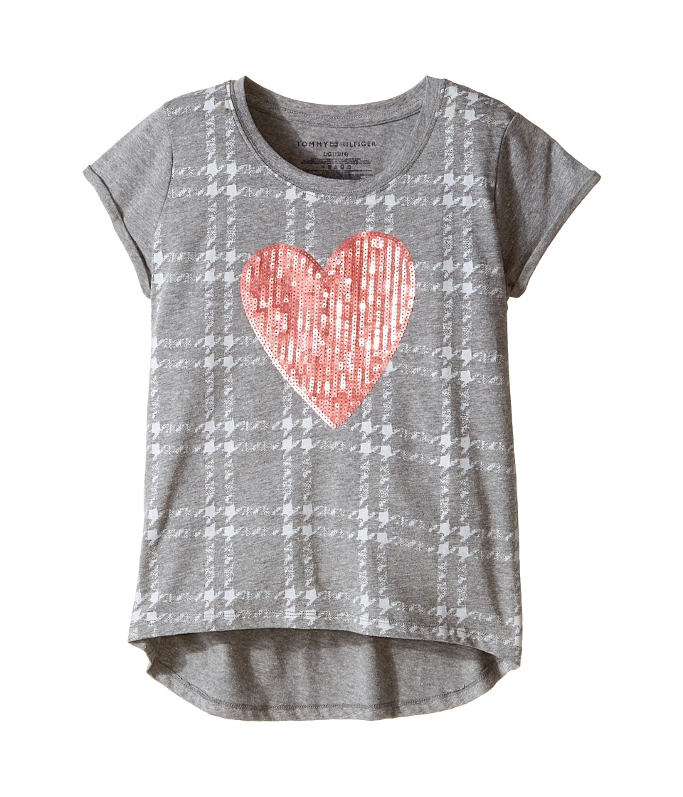 Tommy Hilfiger Kids - Heart On Plaid Tee (Big Kids) (Storm Heather) Girl's T Shirt