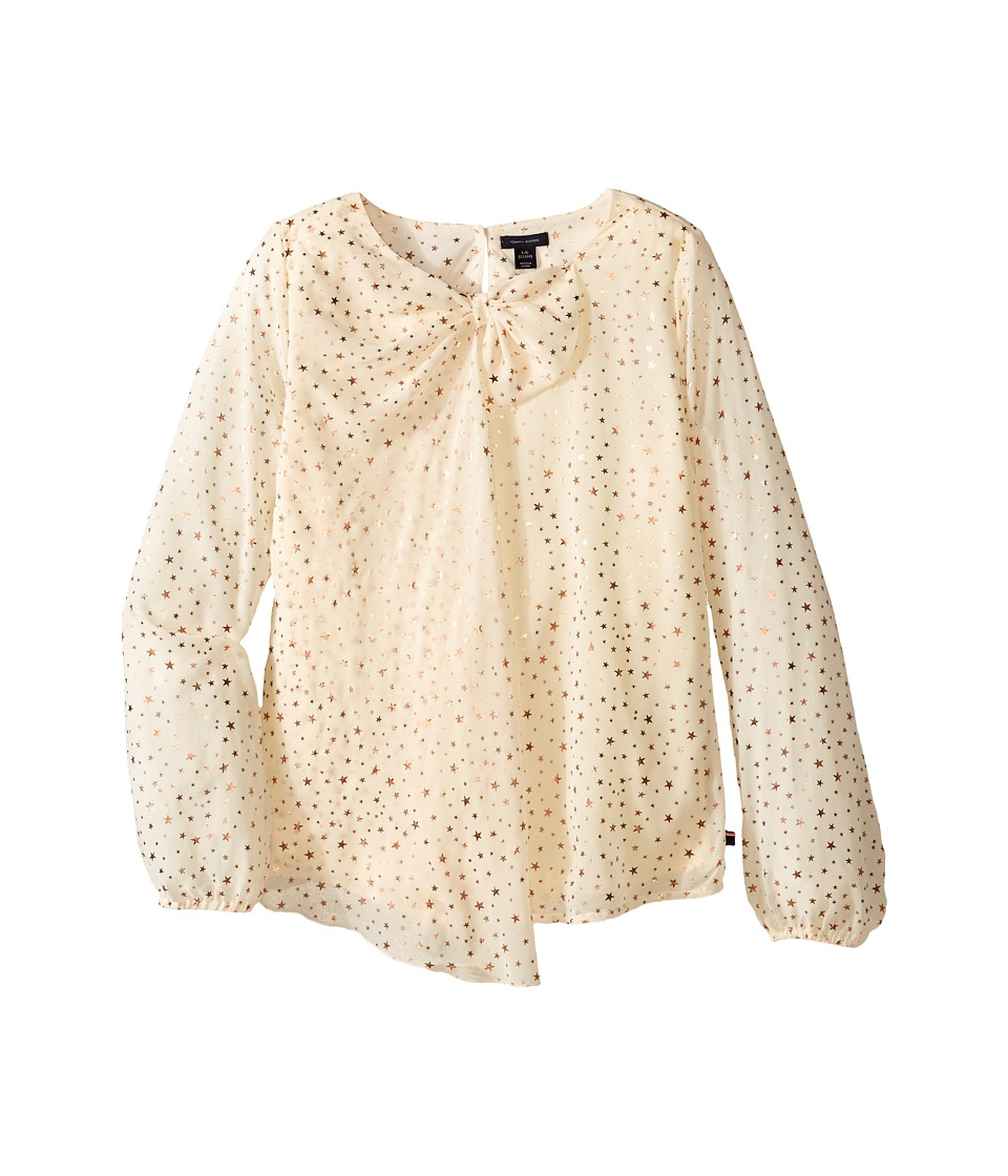 Tommy Hilfiger Kids - Printed Star Chiffon Bow Top (Big Kids) (Frosty Cream) Girl's Clothing