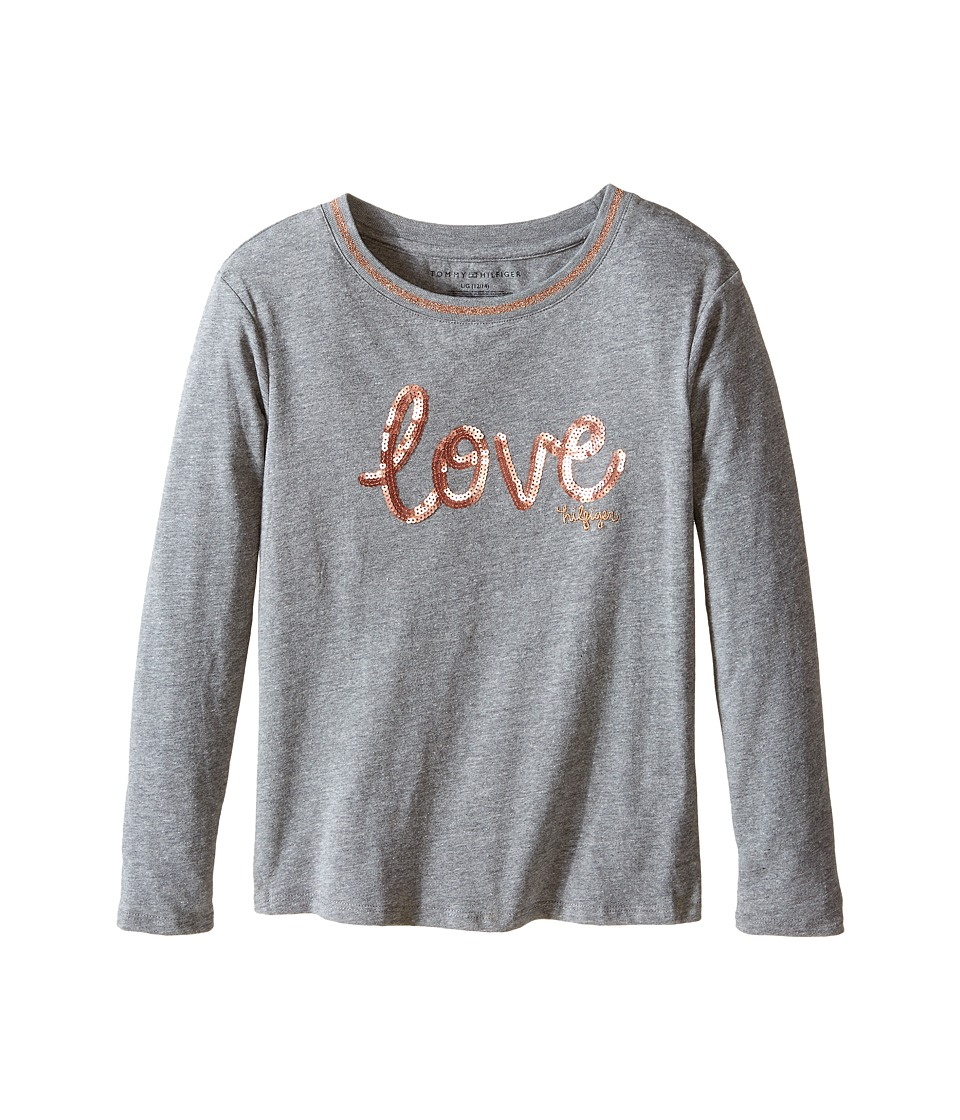 Tommy Hilfiger Kids - Long Sleeve Dollman Rib Neck Tee (Big Kids) (Storm Heather) Girl's T Shirt