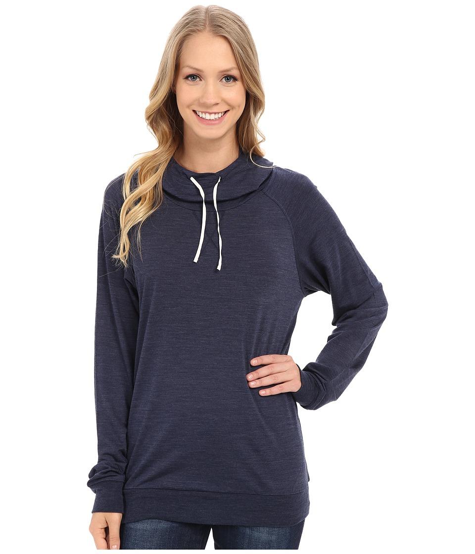 Icebreaker - Sphere Long Sleeve Hood (Admiral Heather/Snow) Women's Long Sleeve Pullover