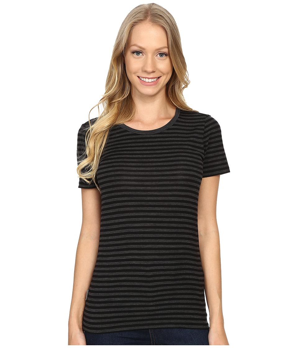 Icebreaker Tech Lite Short Sleeve Crewe Stripe (Jet Heather/Black/Jet Heather) Women