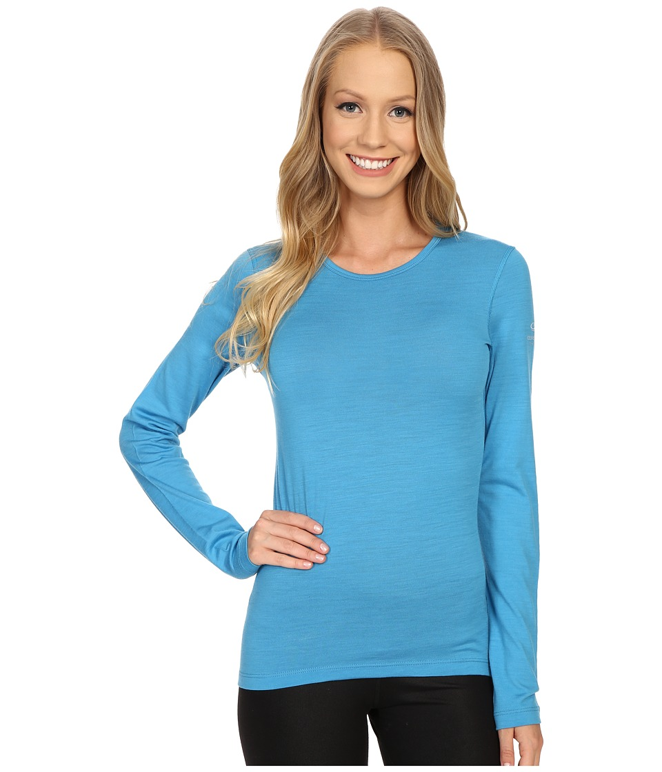 Icebreaker - Oasis Long Sleeve Crewe (Cyan) Women's Long Sleeve Pullover