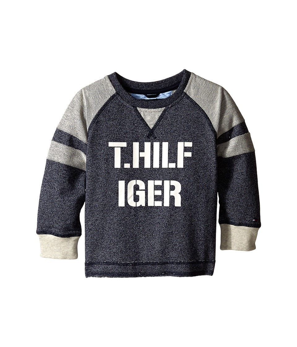 Tommy Hilfiger Kids - Long Sleeve Pieced Raglan Crew Top (Toddler/Little Kids) (Swim Navy) Boy's Sweatshirt