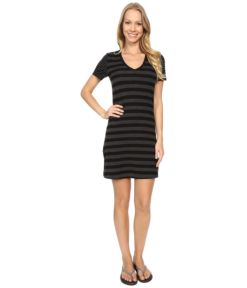 Icebreaker - Tech Lite S/S V-Neck Dress (Black/Jet Heather/Black) Women's Dress