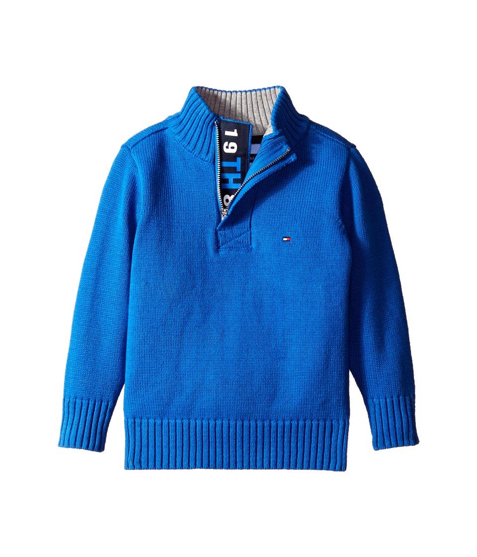 Tommy Hilfiger Kids - Long Sleeve Zac 1/2 Zip Solid Sweater (Toddler/Little Kids) (Blue Jean) Boy's Sweater