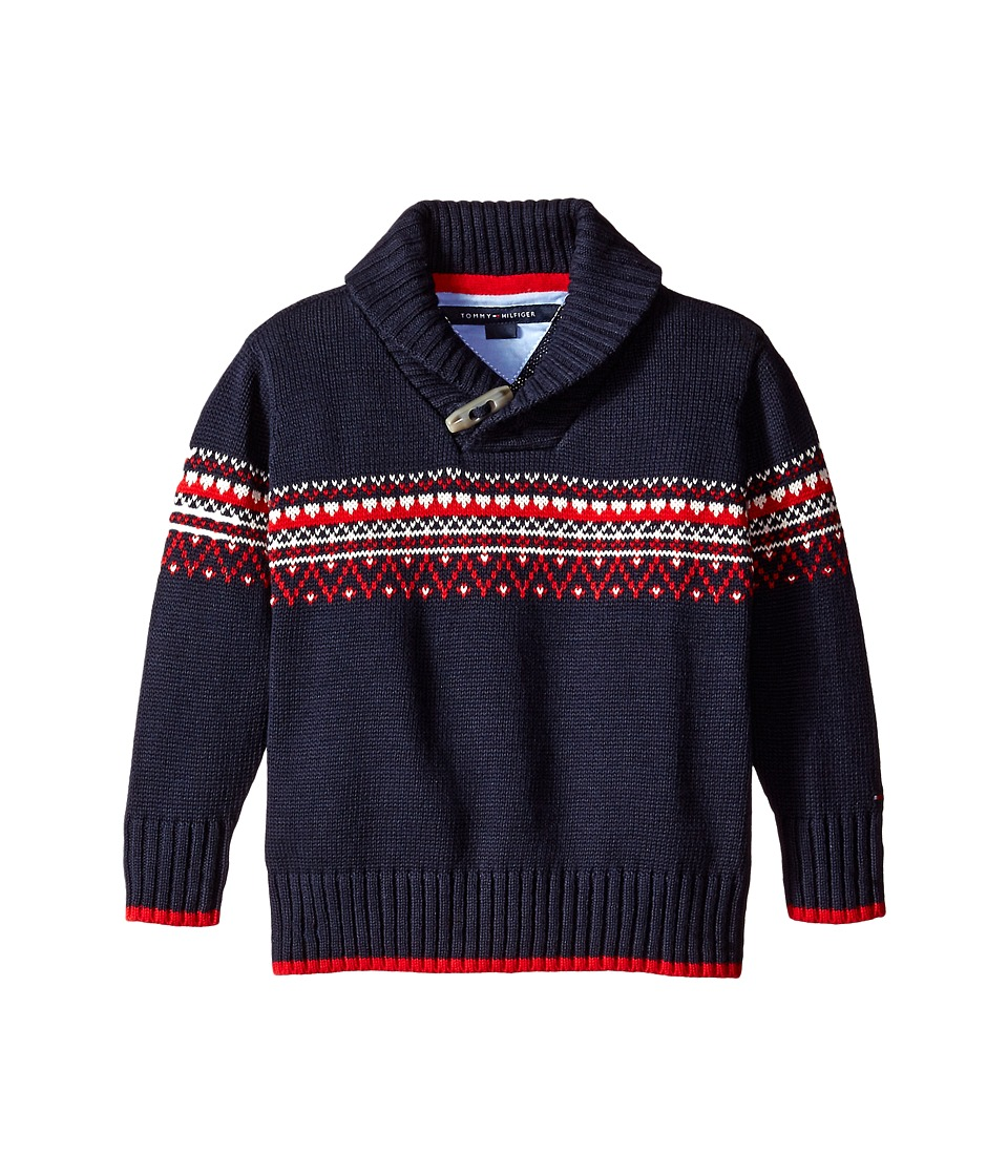 Tommy Hilfiger Kids - Long Sleeve Fairsle Sweater (Toddler/Little Kids) (Swim Navy) Boy's Sweater