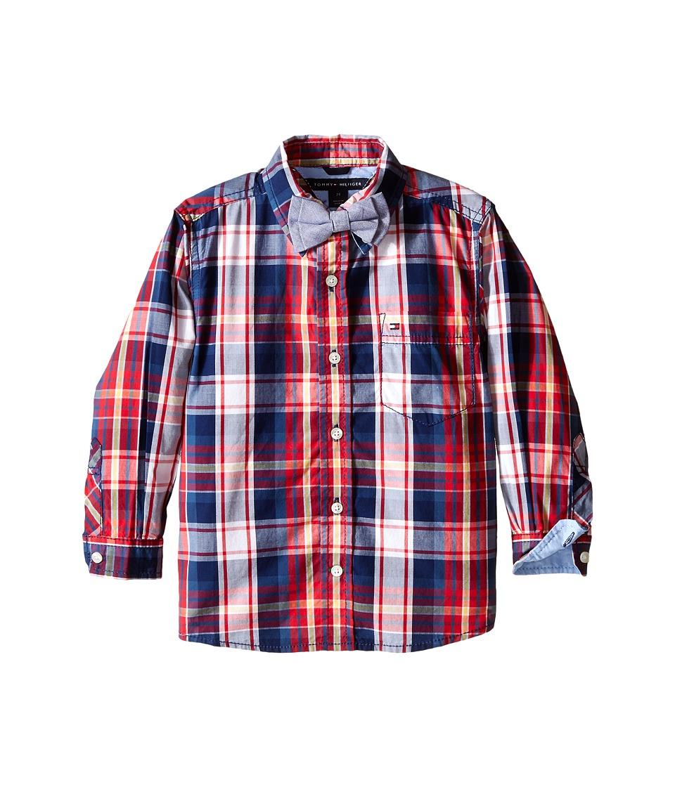 Tommy Hilfiger Kids - Long Sleeve Alfred w/ Bowtie Plaid Shirt (Toddler/Little Kids) (Flag Blue) Boy