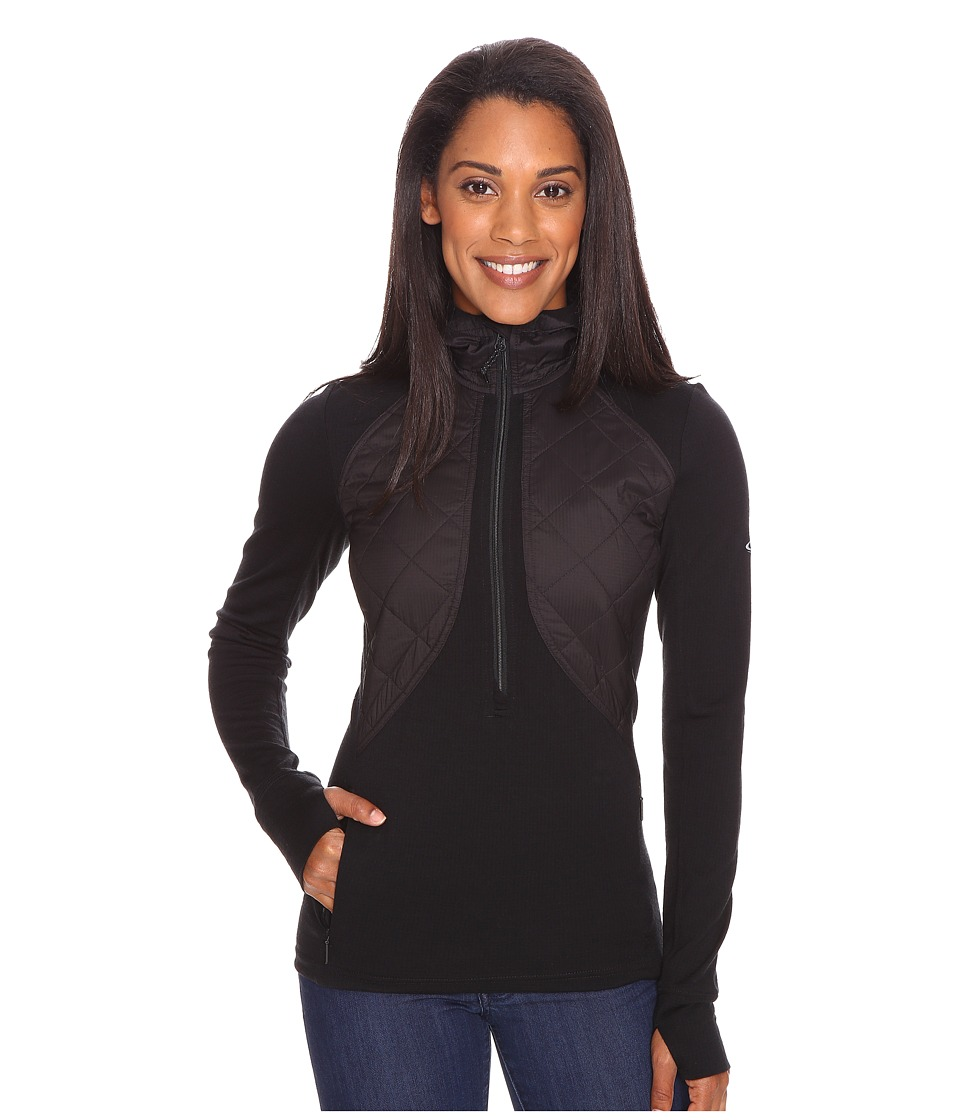 Icebreaker - Ellipse Long Sleeve Half Zip Hood (Black/Black) Women's Clothing