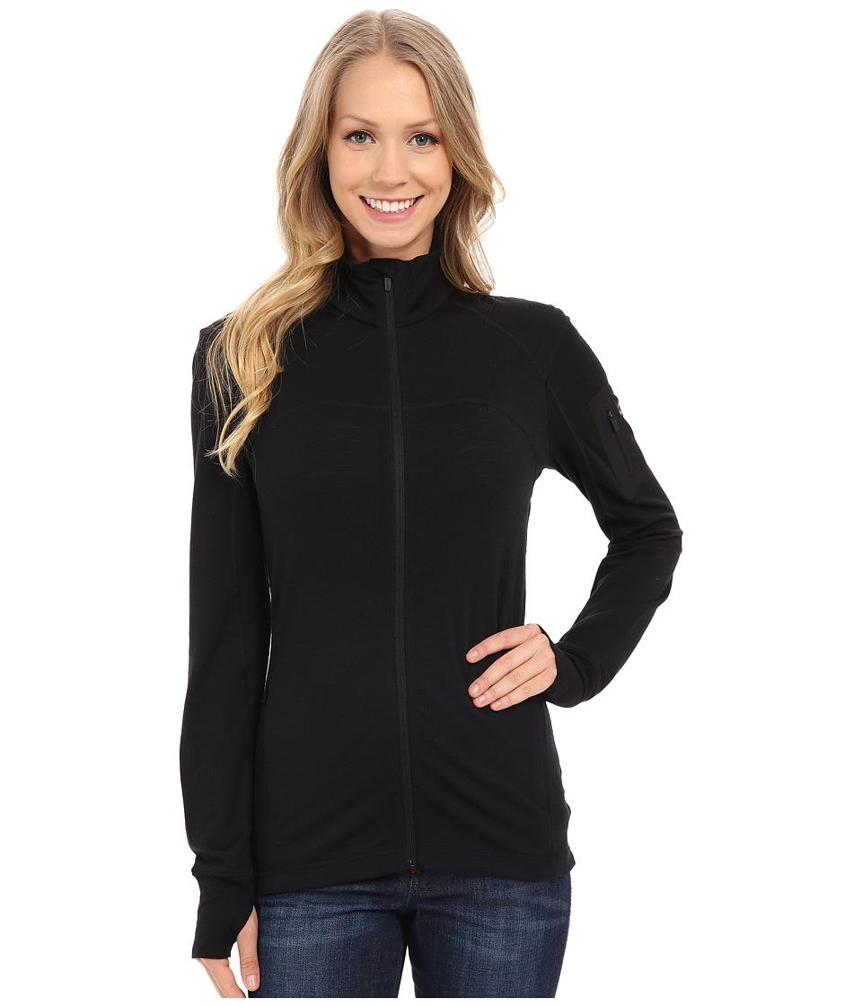 Icebreaker - Terra Long Sleeve Zip (Black/Black/Black) Women's Clothing