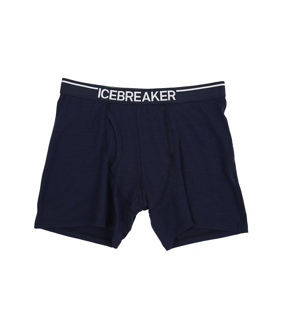 Icebreaker - Anatomica Boxers w/ Fly (Admiral/White) Men's Underwear