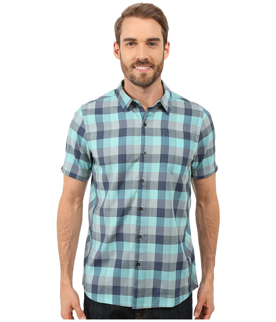 Icebreaker Departure II Short Sleeve Shirt Plaid (Fathom Heather/Shore/Fossil) Men
