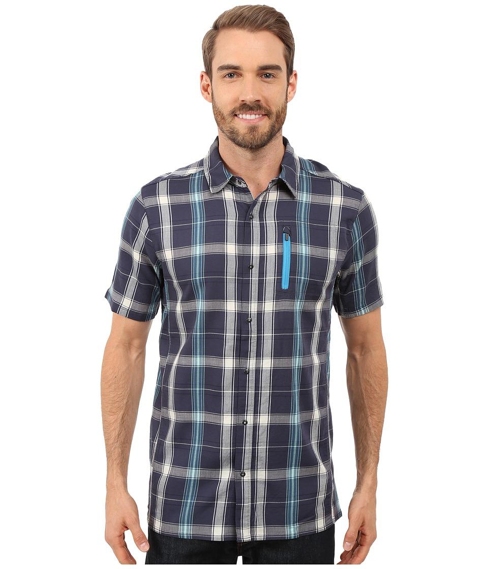 Icebreaker - Compass II Short Sleeve Shirt Plaid (Fathom Heather/Cyan) Men's Clothing