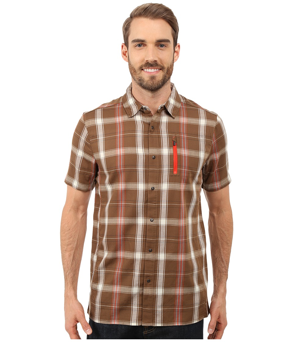 Icebreaker - Compass II Short Sleeve Shirt Plaid (Tobacco/Molten) Men's Clothing