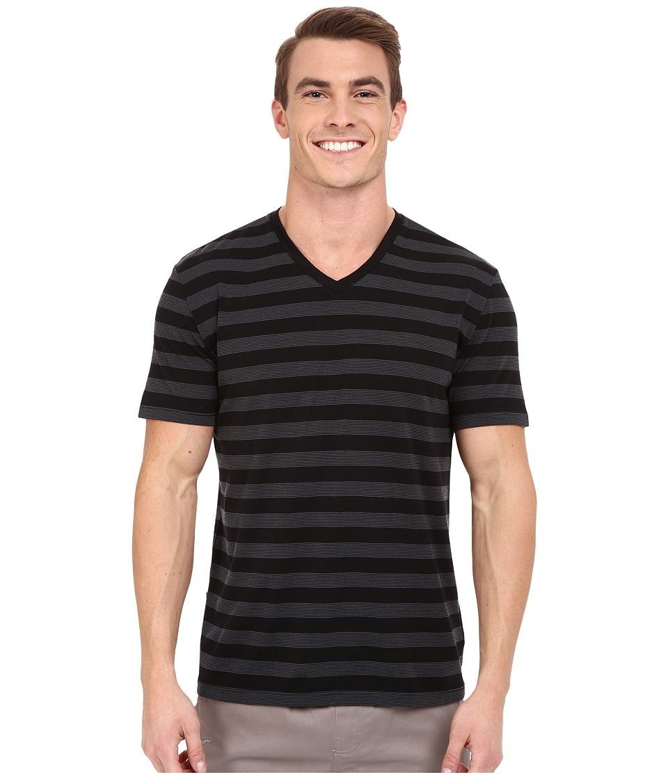 Icebreaker - Tech Lite Short Sleeve V Stripe (Black/Monsoon/Black) Men's Clothing