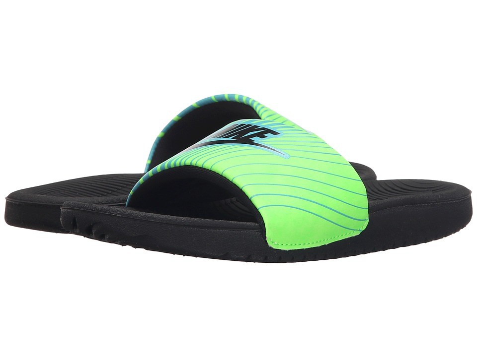 Nike Kids - Kawa Slide Print (Little Kid/Big Kid) (Beta Blue/Voltage Green/Black) Boys Shoes