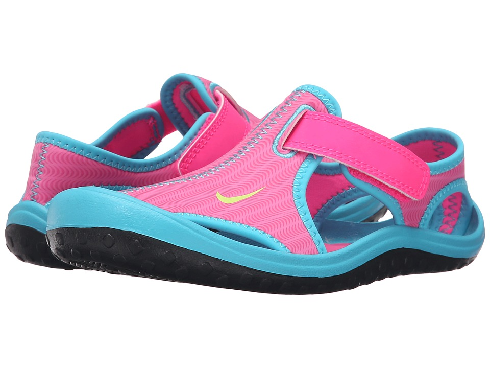 Nike Kids - Sunray Protect (Little Kid) (Pink Blast/Gamma Blue/Black/Ghost Green) Girls Shoes
