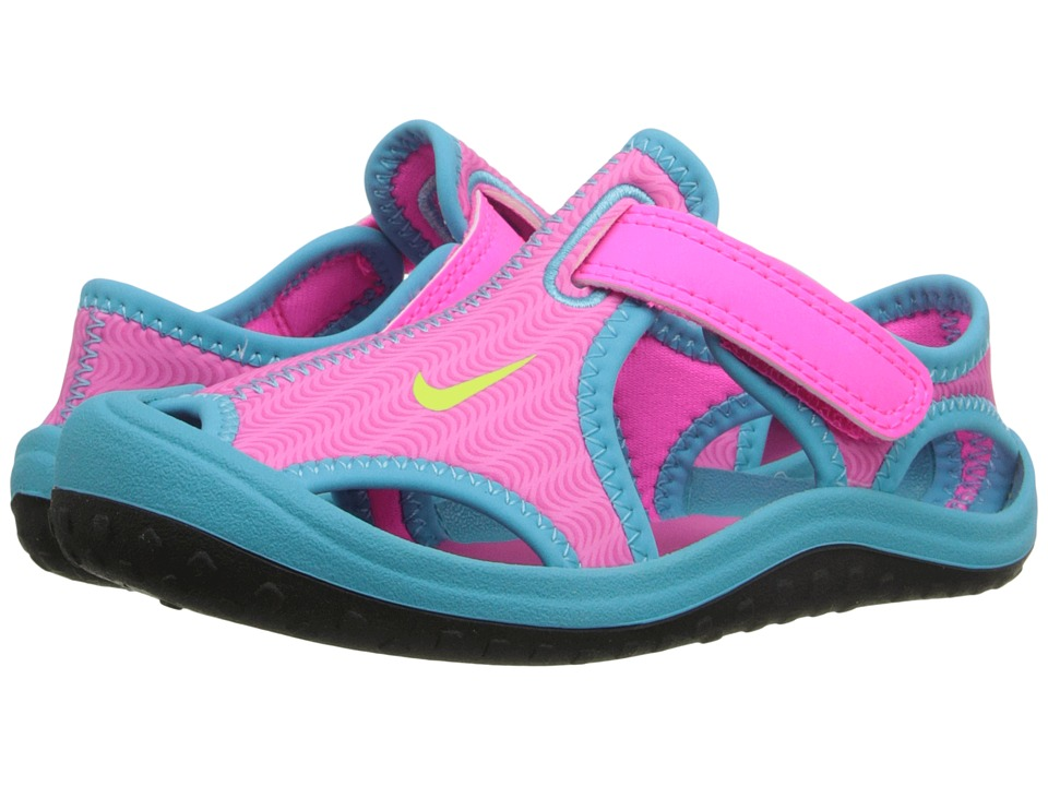 Nike Kids - Sunray Protect (Infant/Toddler) (Pink Blast/Gamma Blue/Black/Ghost Green) Girls Shoes
