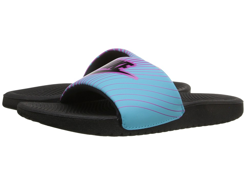 Nike Kids - Slide Print (Little Kid/Big Kid) (Hyper Violet/Beta Blue/Black) Girls Shoes